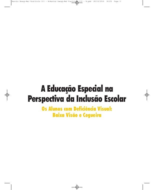 A Educação Especial na Perspectiva da Inclusão Escolar Os Alunos com Deficiência Visual: Baixa Visão e Cegueira Marcos See...