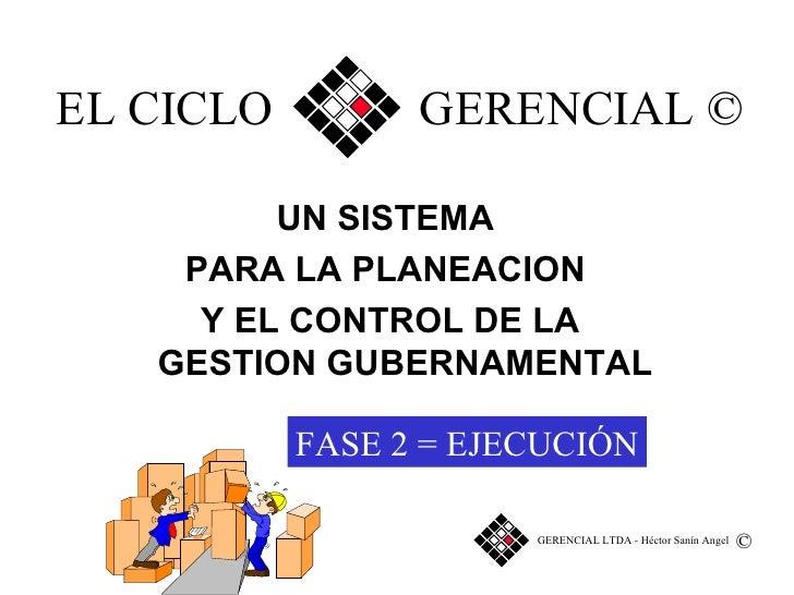 EL CICLO  GERENCIAL © UN SISTEMA  PARA LA PLANEACION  Y EL CONTROL DE LA GESTION GUBERNAMENTAL © FASE   2 =   EJECUCIÓN GE...