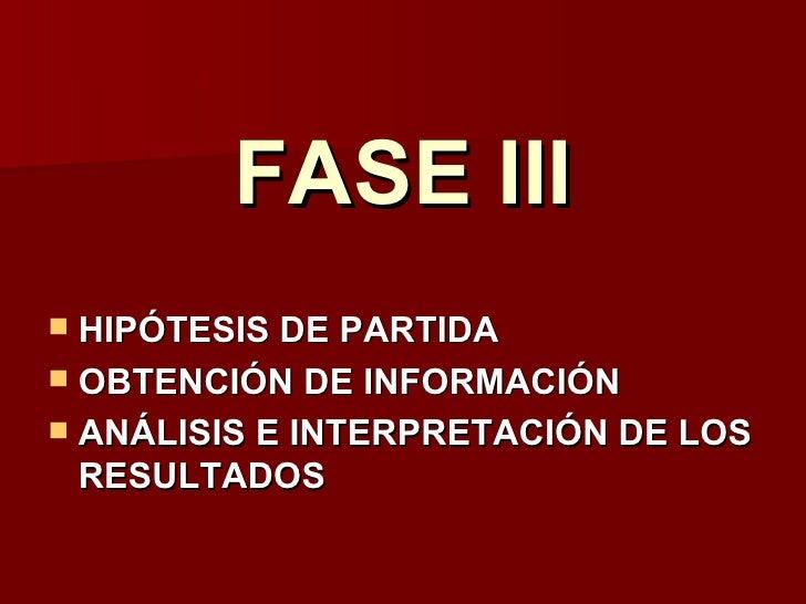 FASE III HIPÓTESIS DE PARTIDA OBTENCIÓN DE INFORMACIÓN ANÁLISIS E INTERPRETACIÓN DE LOS  RESULTADOS
