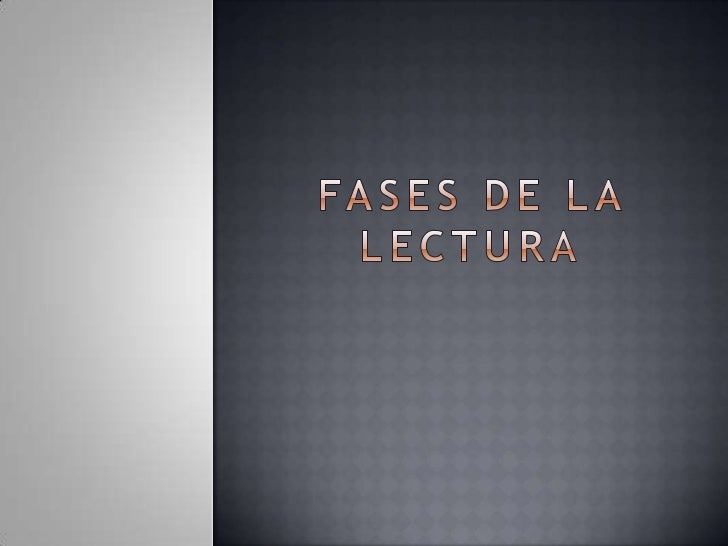 FASES DE LA LECTURA<br />