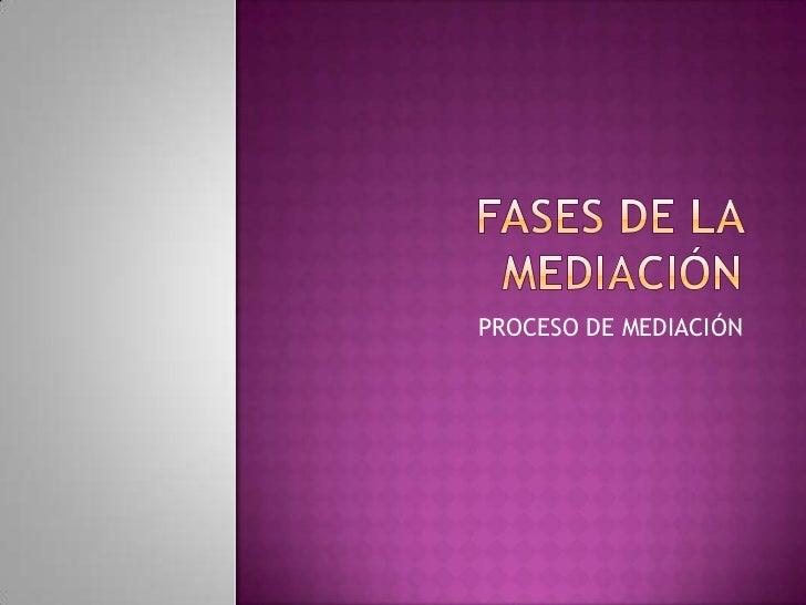FASES DE LA MEDIACIÓN<br />PROCESO DE MEDIACIÓN<br />