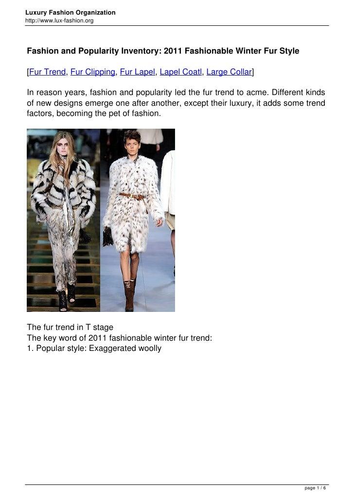 Luxury Fashion Organizationhttp://www.lux-fashion.orgFashion and Popularity Inventory: 2011 Fashionable Winter Fur Style[F...