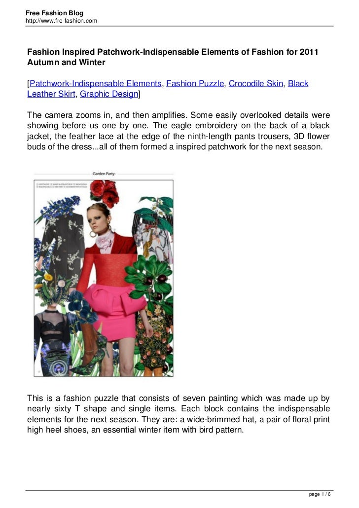 Free Fashion Bloghttp://www.fre-fashion.comFashion Inspired Patchwork-Indispensable Elements of Fashion for 2011Autumn and...