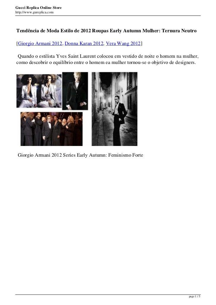 Gucci Replica Online Storehttp://www.gureplica.comTendência de Moda Estilo de 2012 Roupas Early Autumn Mulher: Ternura Neu...