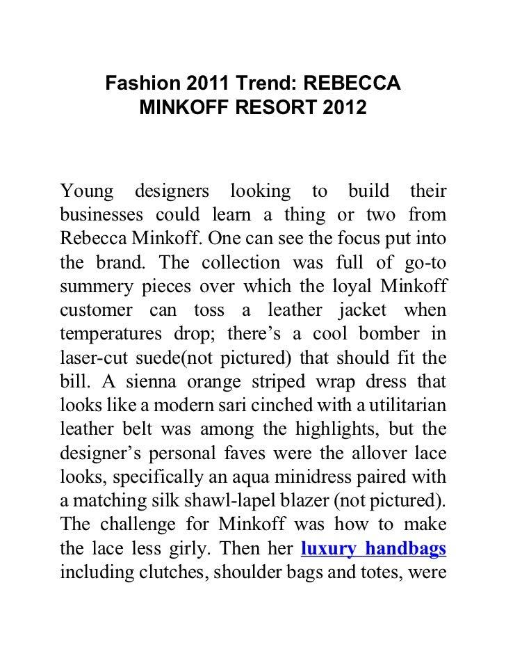 Fashion 2011 Trend: REBECCA MINKOFF RESORT 2012