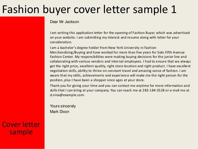 fashion cover letter samples