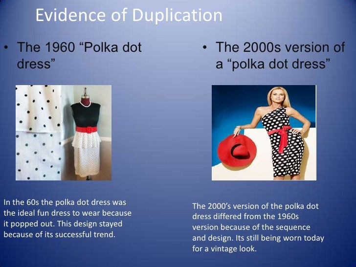 "Evidence of Duplication<br />The 1960 ""Polka dot dress""<br />The 2000s version of a ""polka dot dress"" <br />In the 60s the..."