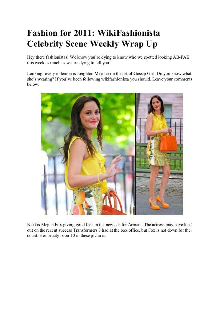 Fashion for 2011: WikiFashionista Celebrity Scene Weekly Wrap Up