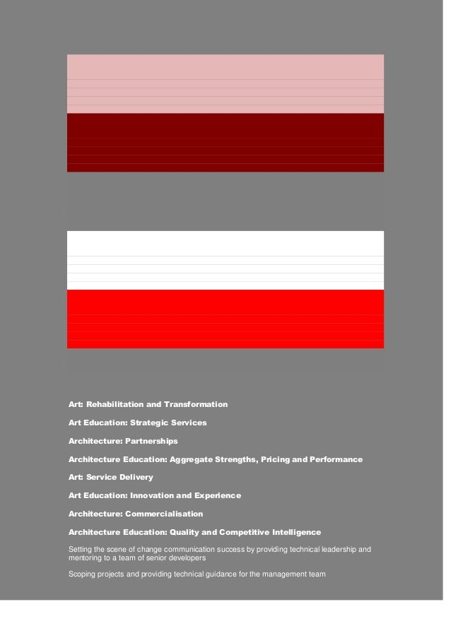 Art: Rehabilitation and Transformation Art Education: Strategic Services Architecture: Partnerships Architecture Education...