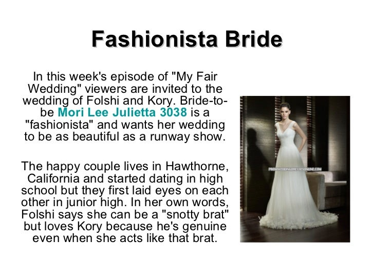 """Fashionista Bride In this week's episode of """"My Fair Wedding"""" viewers are invited to the wedding of Folshi and K..."""