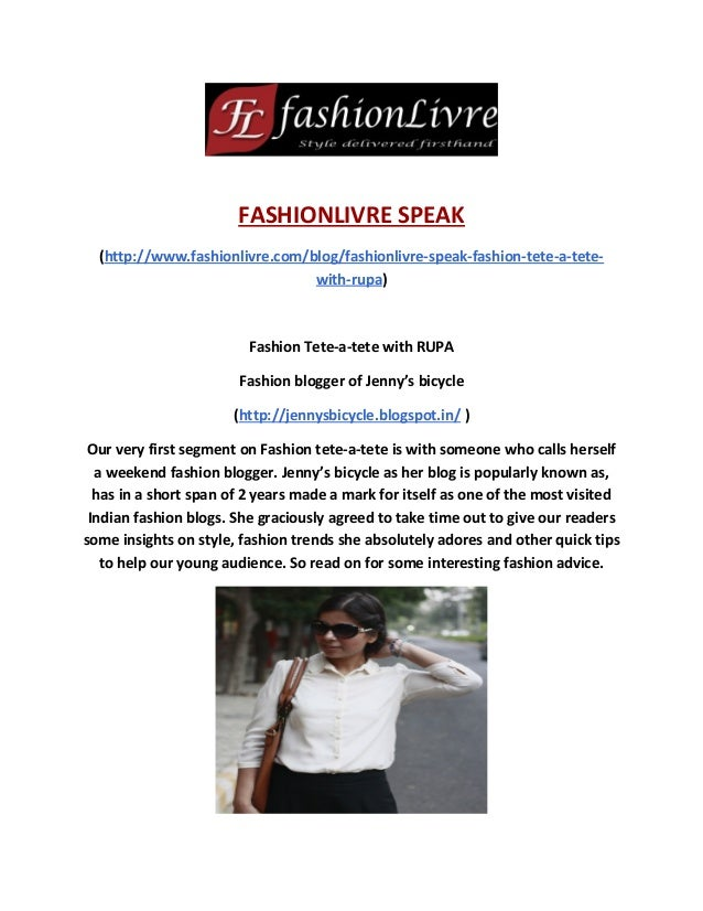 Fashionlivre Speak: interview with Rupa (Fashion blogger of Jenny's Bicycle)