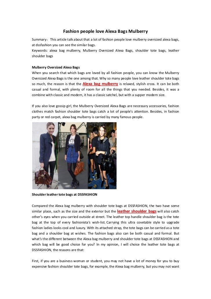 Fashion people love Alexa Bags MulberrySummary:This article talk about that a lot of fashion people love mulberry oversize...