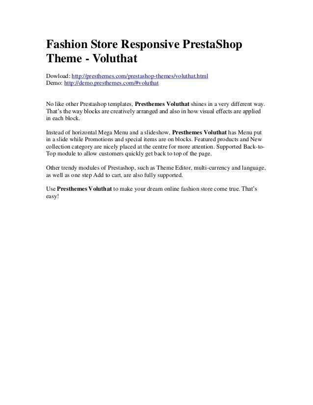 Fashion store responsive presta shop theme - Voluthat