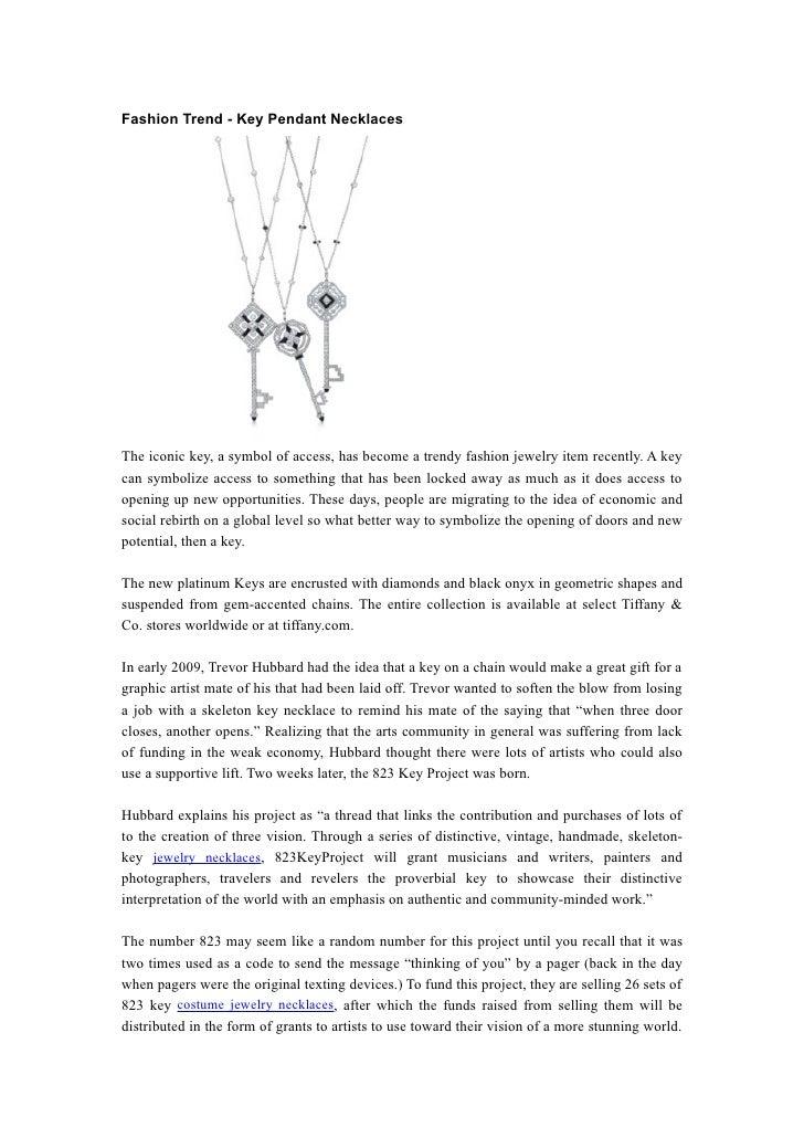 Fashion Trend Key Pendant Necklaces