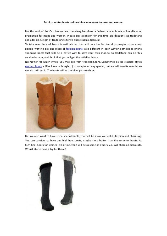 Fashion winter boots online china wholesale for men and womenFor this end of the October comes, tradetang has done a fashi...