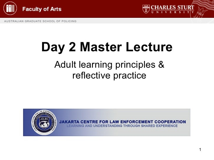 Day 2 Master Lecture Adult learning principles & reflective practice