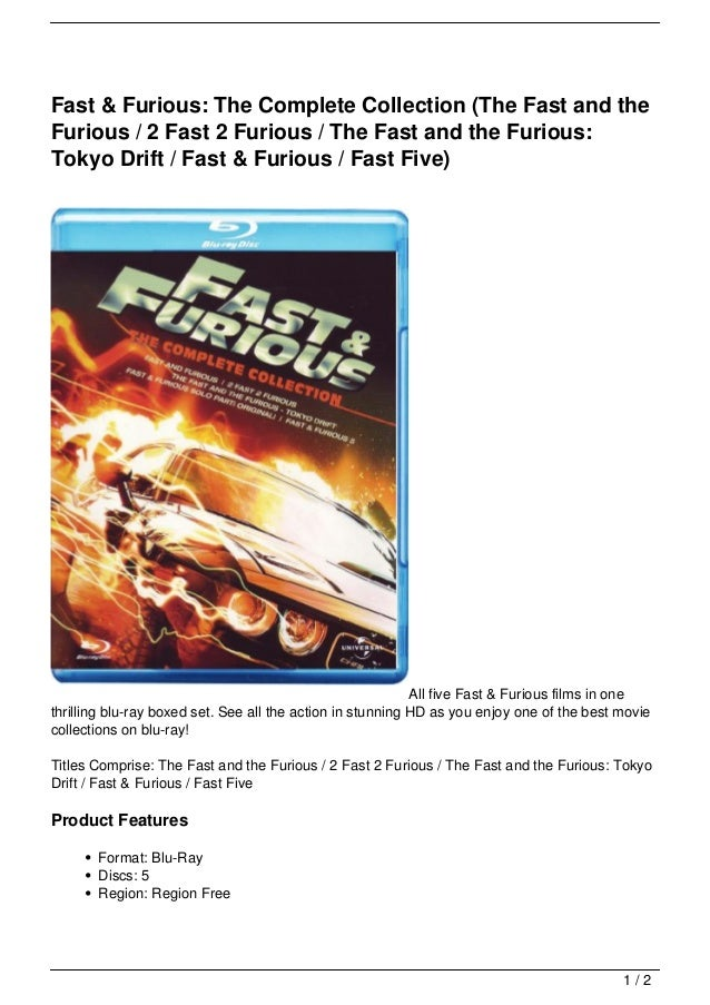 Fast & Furious: The Complete Collection (The Fast and theFurious / 2 Fast 2 Furious / The Fast and the Furious:Tokyo Drift...