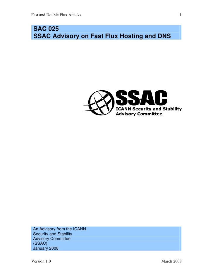 Fast and Double Flux Attacks                    1    SAC 025  SSAC Advisory on Fast Flux Hosting and DNS      An Advisory ...