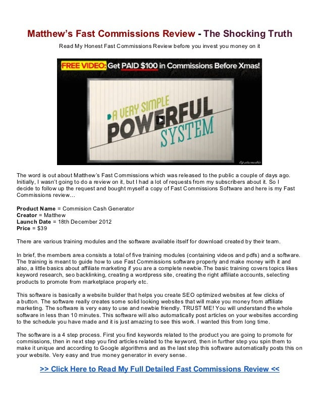Matthew's Fast Commissions Review - The Shocking Truth                 Read My Honest Fast Commissions Review before you i...