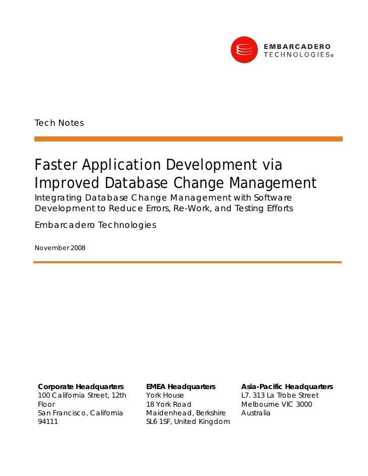 Tech Notes    Faster Application Development via Improved Database Change Management Integrating Database Change Managemen...