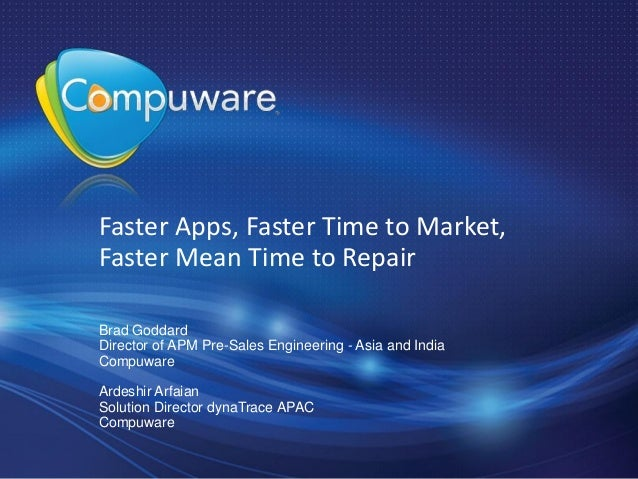 Faster apps. faster time to market. faster mean time to repair