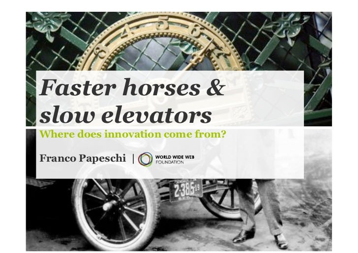 Faster horses &slow elevatorsWhere does innovation come from?Franco Papeschi |                                   1