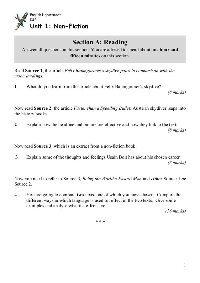 English Department        KS4        Unit 1: Non-Fiction                              Section A: Reading    Answer all que...
