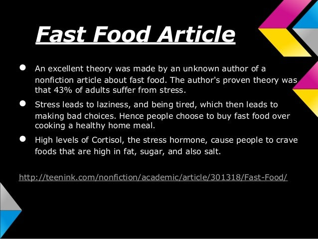 essay on fast food and health Many people underestimate how bad a fast food meal can be for their health with so many components of typical fast food fare being fried or greasy, it doesn't take.