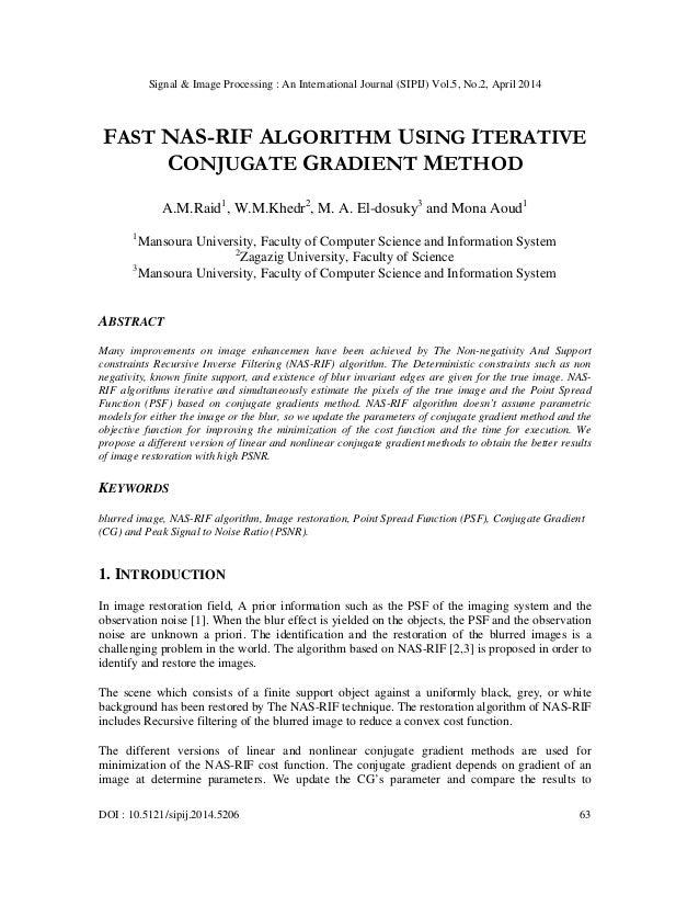 Fast nas rif algorithm using iterative conjugate gradient method
