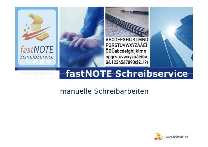 Logo        fastNOTE Schreibservice       manuelle Schreibarbeiten                                  www.fastnote.de