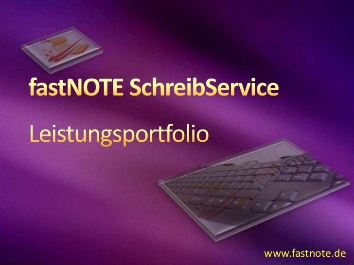 fastNOTE SchreibService Leistungsportfolio