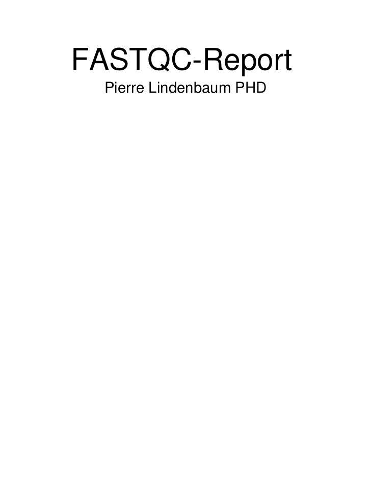 FASTQC-Report Pierre Lindenbaum PHD