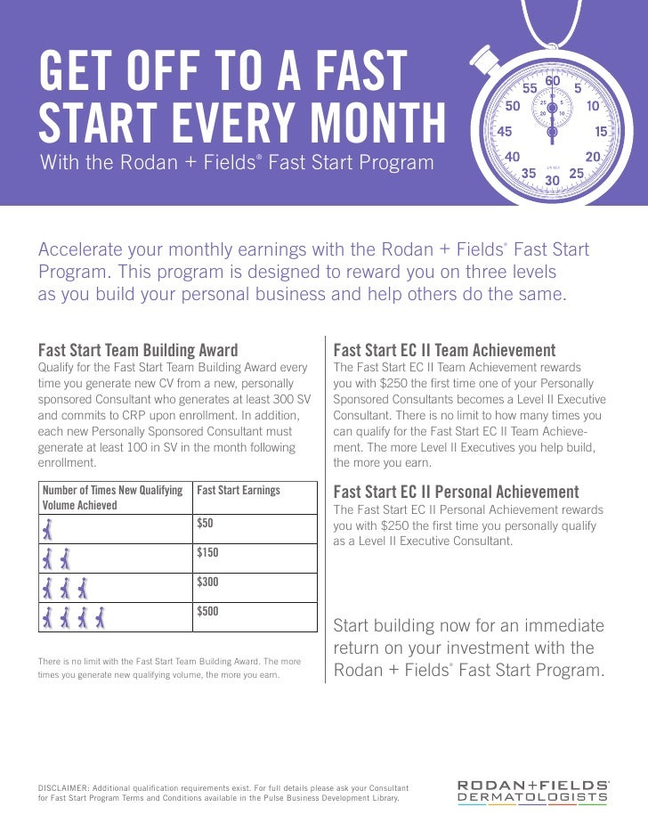 GET OFF TO A FASTSTART EVERY MONTHWith the Rodan + Fields Fast Start Program                ®Accelerate your monthly earni...