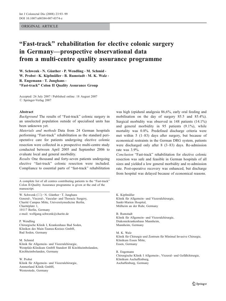 Fast Track Rehabilitation For Elective Colonic Surgery In Germany