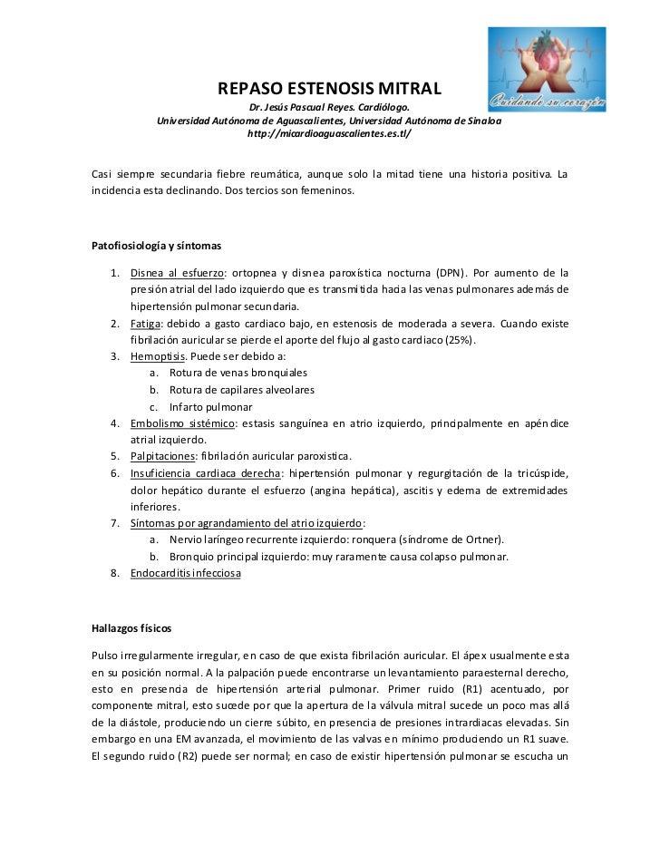 REPASO ESTENOSIS MITRAL                               Dr. Jesús Pascual Reyes. Cardiólogo.             Universidad Autónom...