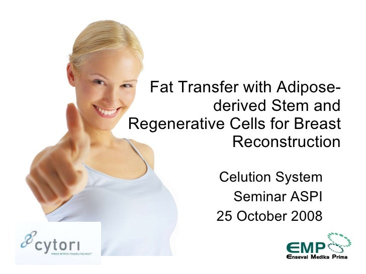 Celution System Seminar ASPI 25 October 2008 Fat Transfer with Adipose-derived Stem and Regenerative Cells for Breast Reco...