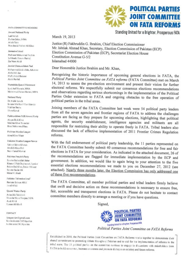 FATA Committee Letter to the Election Commission of Pakistan (March 19, 2013)