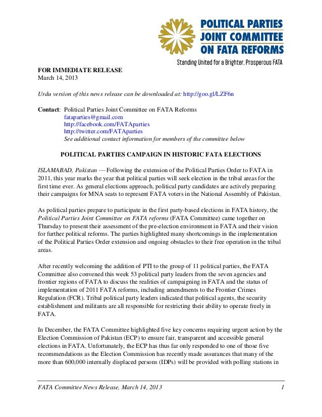 FATA Committee News Release: First Party-based Elections in FATA History (14 March 2013 English)