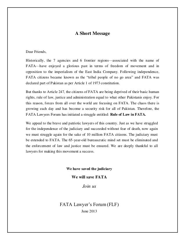 FATA Lawyers Forum Call to Action on High Court Extension to FATA (June 2013, English)