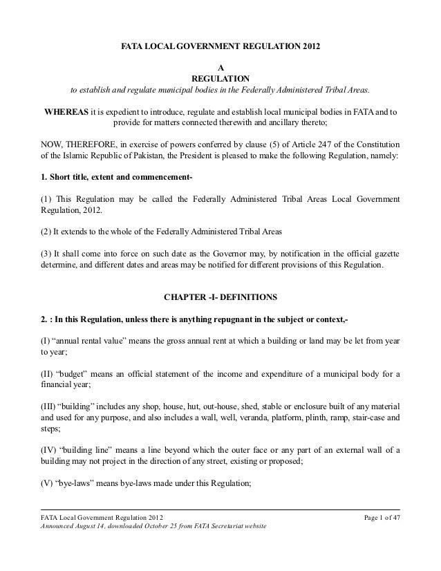 Draft #2 FATA Local Government Regulation (August 2012, FATA Secretariat)