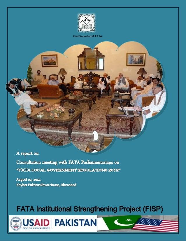 FATA Parliamentarians Consultation on Draft Local Government Regulation (August 2012)