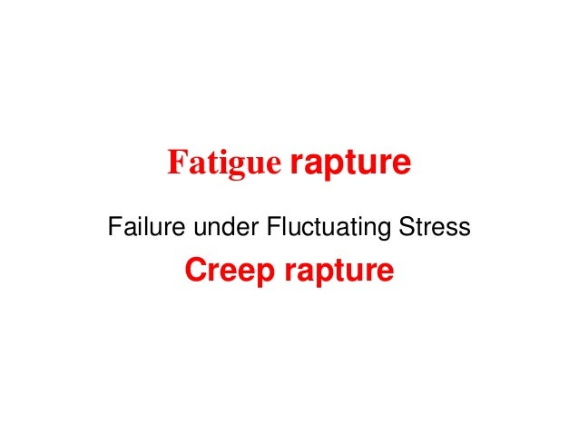 Fatigue rapture Failure under Fluctuating Stress Creep rapture