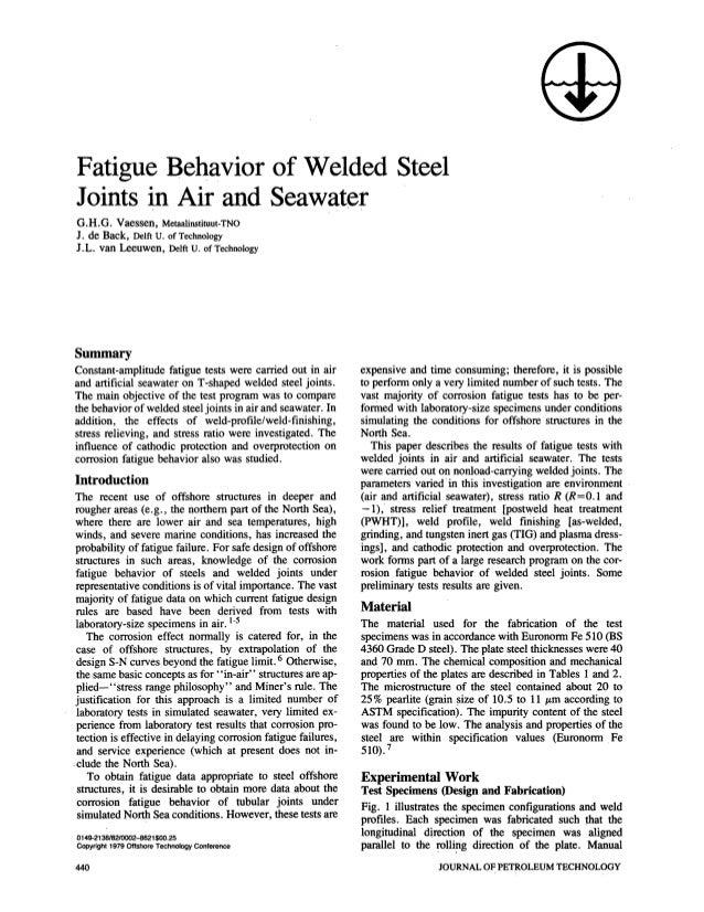 Fatigue Behavior of Welded SteelJoints in Air and SeawaterG.H.G. Vaessen, Metaalinstituut-TNOJ. de Back, Delft tJ. of Tech...