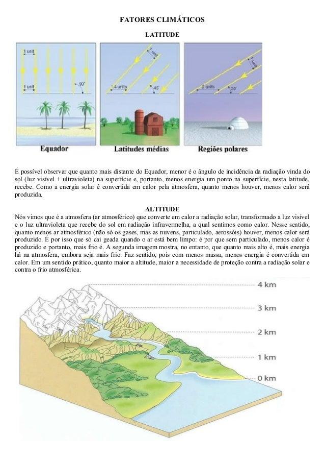 FATORES CLIMÁTICOS LATITUDE É possível observar que quanto mais distante do Equador, menor é o ângulo de incidência da rad...