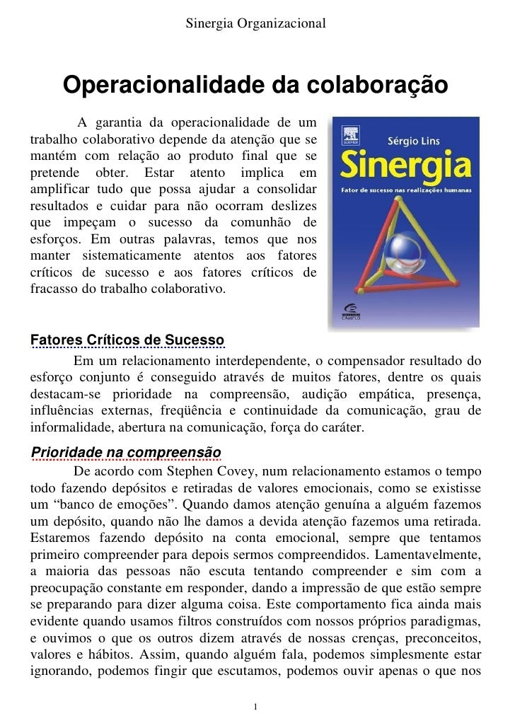 Sinergia Organizacional         Operacionalidade da colaboração         A garantia da operacionalidade de um trabalho cola...