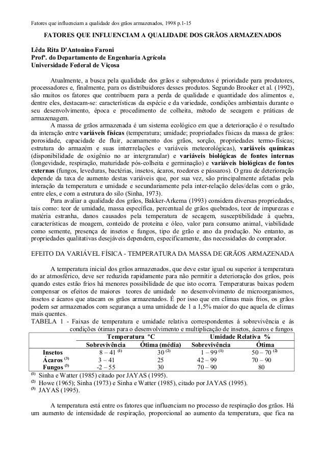 Fatores que influenciam a qualidade dos grãos armazenados, 1998 p.1-15 FATORES QUE INFLUENCIAM A QUALIDADE DOS GRÃOS ARMAZ...