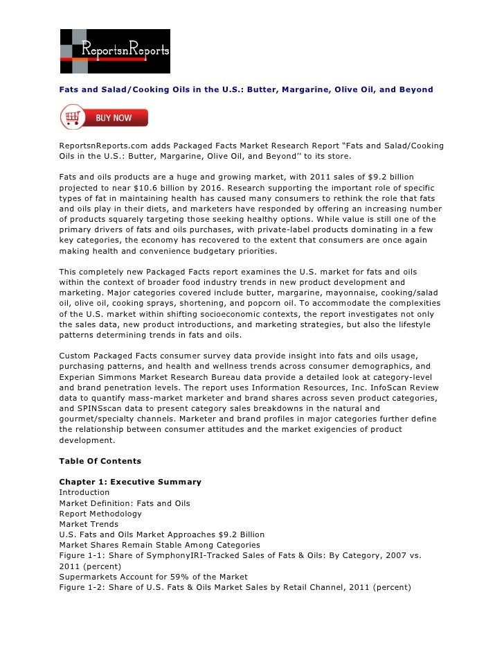 ReportsnReports – Fats and Salad/Cooking Oils in the U.S.: Butter, Margarine, Olive Oil, and Beyond