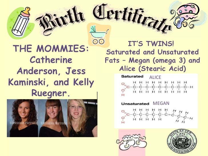THE MOMMIES: Catherine Anderson, Jess Kaminski, and Kelly Ruegner. ALICE MEGAN IT'S TWINS!  Saturated and Unsaturated Fats...