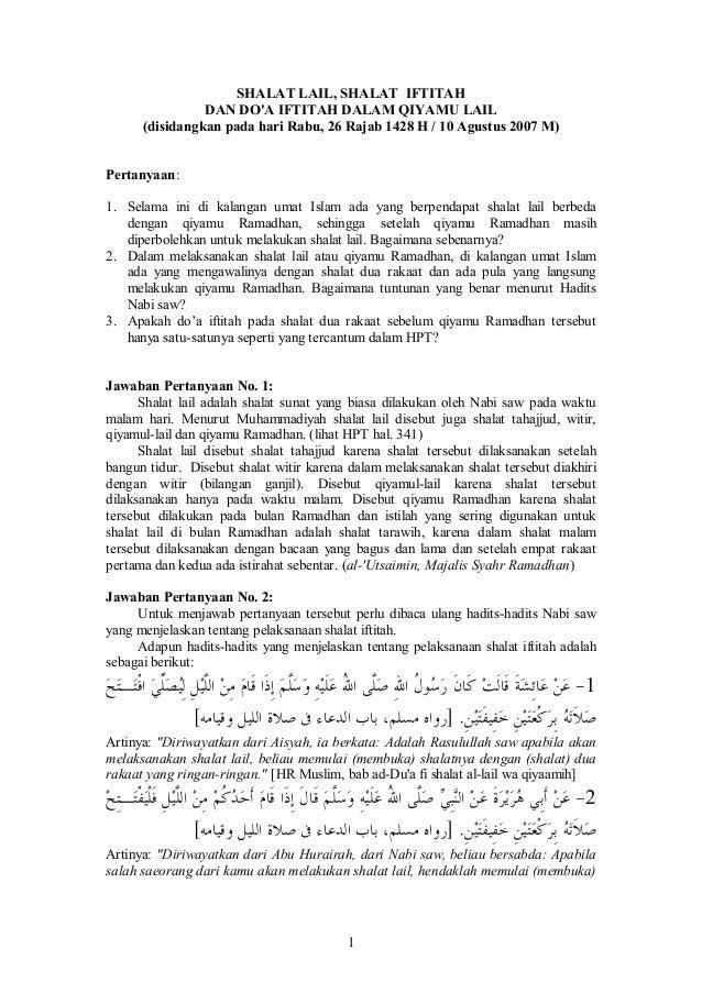 1 SHALATLAIL,SHALATIFTITAH DANDO'AIFTITAHDALAMQIYAMULAIL (disidangkanpadahariRabu,26 Rajab 1428H/10Agu...