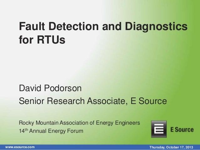 Fault Detection and Diagnostics for RTUs